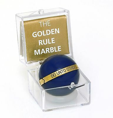 Lot Of 12 Golden Rule Marble Do Unto Others ...  Blue Acrylic Cats Eye