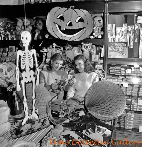 Young Ladies Halloween Shopping - 1940s - Vintage Photo Print