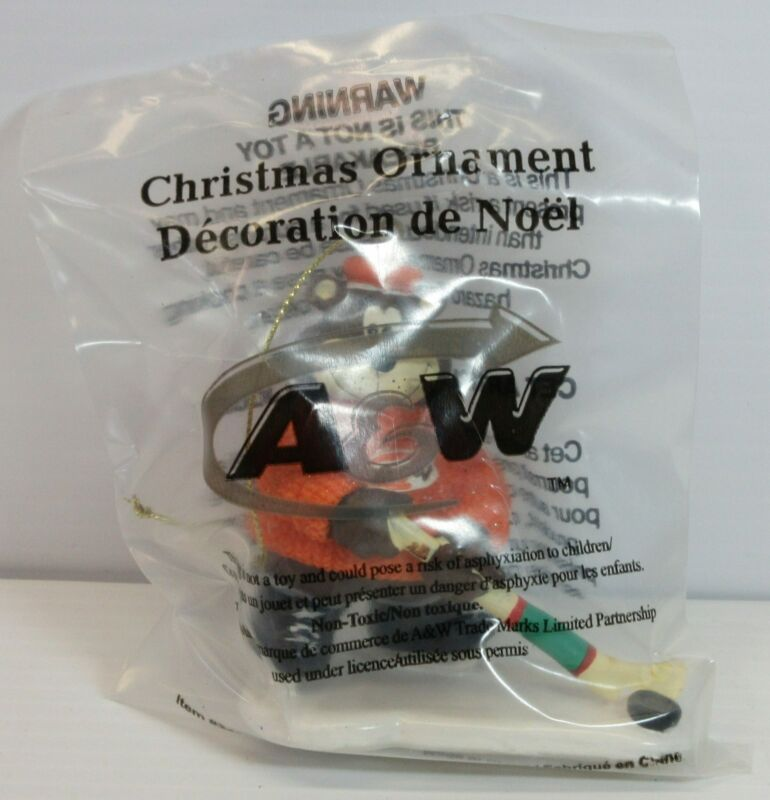 A&W Root Beer Bear Playing Hockey Christmas Ornament - unopened