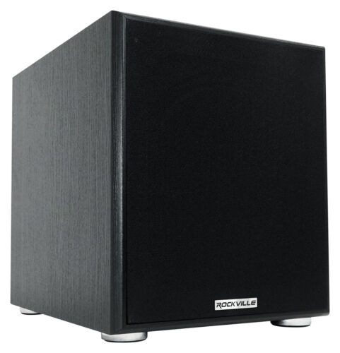 """Rockville Rock Shaker 10"""" Inch Black 600w Powered Home Theater Subwoofer Sub"""