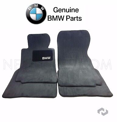 For BMW E38 740iL 750iL Sedan Set of 2 Front & Rear Black Floor Mat Carpets OES