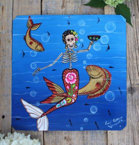 Day of the Dead Tin Retablo Skeleton Mermaid Hand Painted Oaxaca Mexico Folk Art