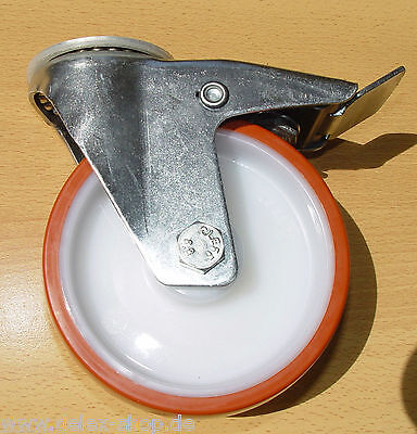 Transportgeräterolle Polyurethanbereifung 125 mm Rückenloch Lenkrolle mit Bremse