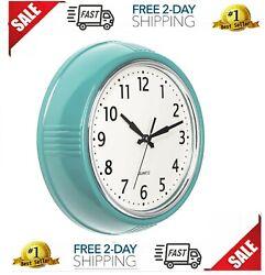 Products Retro Wall Clock 9.5 Inch Blue Kitchen 50'S Vintage Design Round