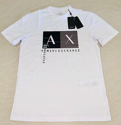 NWT ARMANI EXCHANGE AX MENS WHITE GRAPHIC TEE T-SHIRT AX LOGO SZ XS S M L XL 2XL