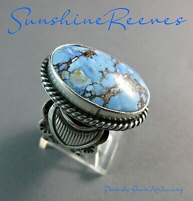 Navajo SUNSHINE REEVES-Kasakhstan-Golden Hills Turquoise~Traditional 925 Ring-9