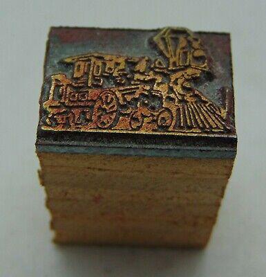 Vintage Printing Letterpress Printers Block Tiny Train