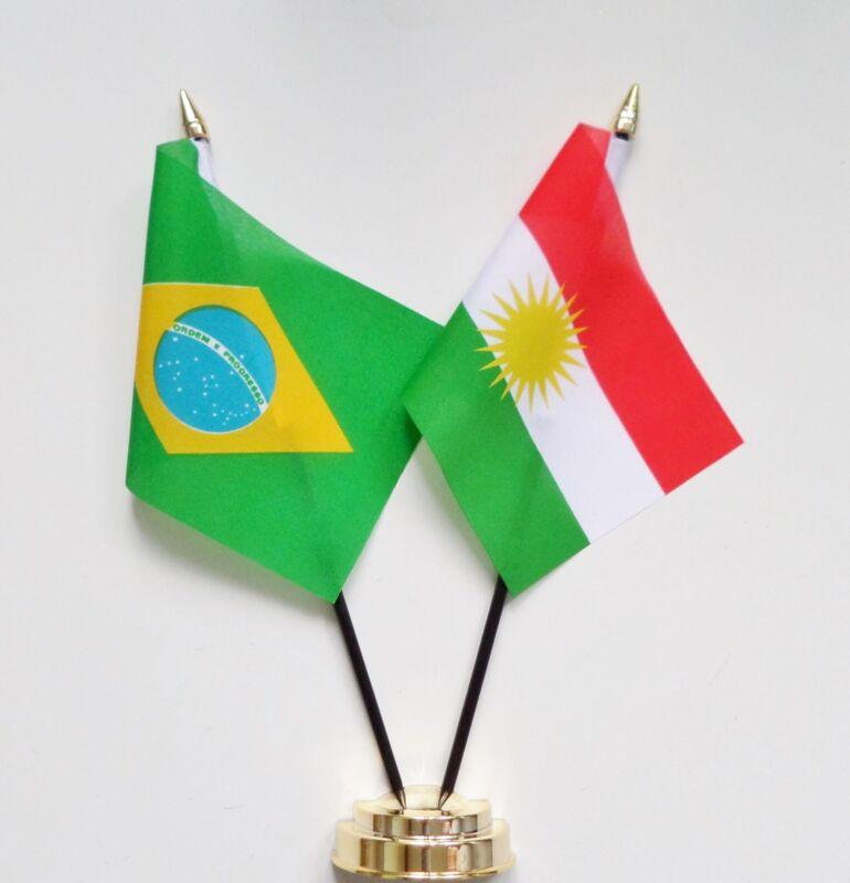 Brazil & Kurdistan Double Friendship Table Flag Set