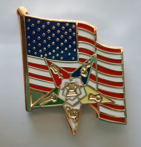 Order of Eastern Star symbol with the U.S. Flag  lapel pin NEW DESIGN