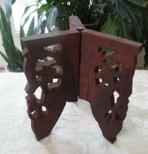 VINTAGE WOOD FOLDING PLANT or BOWL STAND HAND CARVED INDIA SCROLLWORK