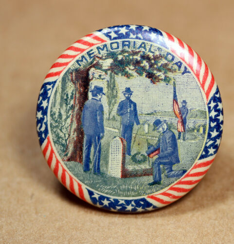 RARE 1896 Memorial Day Union Soldier Grave Celluloid Pinback BUtton Whitehead