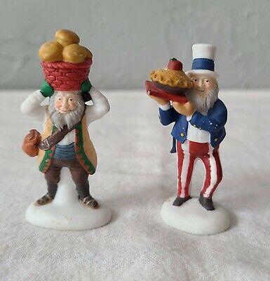 Two Retro H.V. Dept. 56 Miniature Porcelain Figurines Uncle Sam and Guy w/Basket