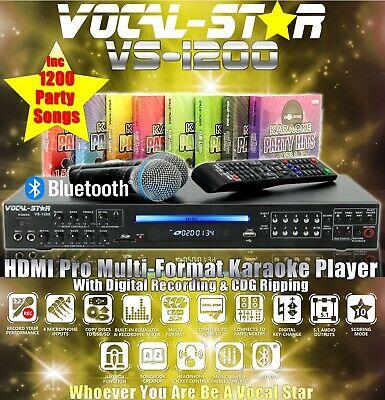 VOCAL-STAR VS-1200 CDG DVD BLUETOOTH KARAOKE MACHINE PLAYER 2 MICS 1500 SONGS