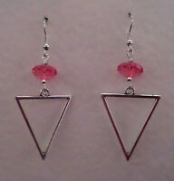 Elegant Triangle Spear Silver Plated Drop Earrings Hot Pink Faceted Bead Hook - unbranded - ebay.co.uk