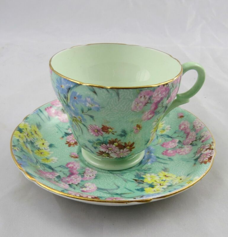 Shelley Melody Chintz 13453 Green Small Cup & Saucer England TM James & Sons