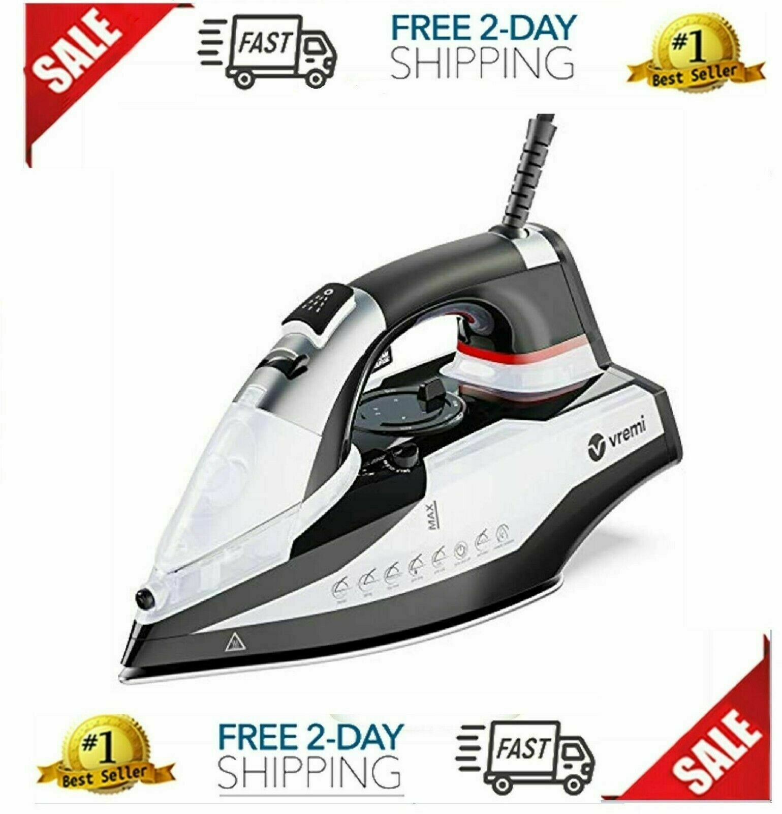 1800 Watt Steam Iron For Clothes - Nonstick Ceramic Sole Plate, 350 ML Water Way - $43.29