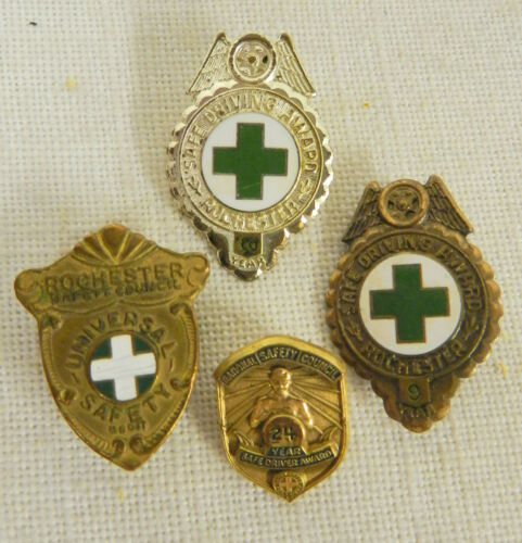 (4) ANTIQUE SAFE DRIVING AWARD PINS LOT from ESTATE