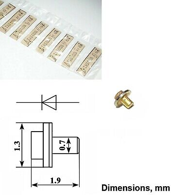 2 Pcs Varactor Gaas Diodes 3a410g 0.4 - 0.6pf 3 - 30ghz Ussr Gold Pated