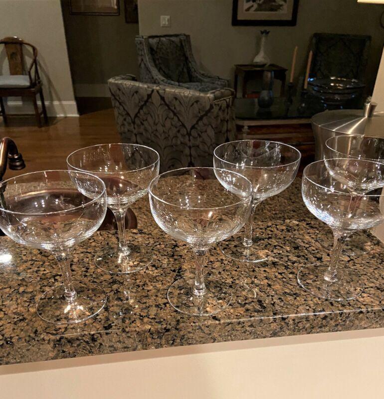 Six Lenox Crystal BELMONT Tall Sherbet or Champagne Glasses