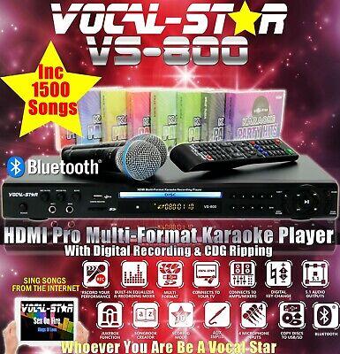 Vocal-Star VS-800 CDG DVD Bluetooth Karaoke Machine 2 Microphones & 1500 Songs