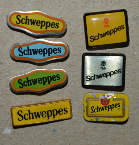 SCHWEPPES vintage stick pin badge lot rare 7 different