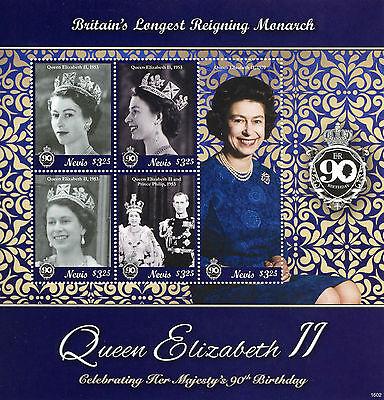 Nevis 2016 MNH Queen Elizabeth II 90th Birthday Longest Reigning 5v M/S Stamps