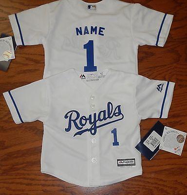 Kansas City Royals Cool Base MLB Majestic Toddler Replica Jersey add name & #