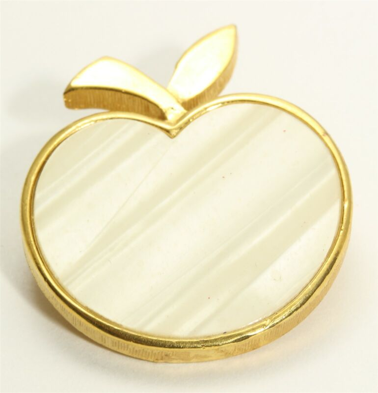 Vintage Crown Trifari Gold Tone Mother of Pearl Apple Fruit Brooch Pin
