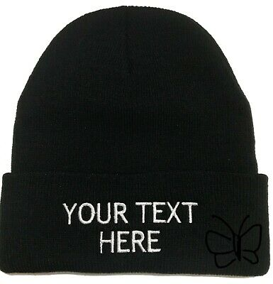 Custom Embroidery Beanie Personalized Embroidered Beanie Knit Cap w/Cuff Black Personalized Knit Caps
