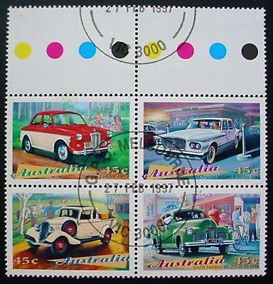 AUSTRALIA 1997: CLASSIC CARS: TRAFFIC LIGHT BLOCK OF 4 MNH WITH PRECANCEL
