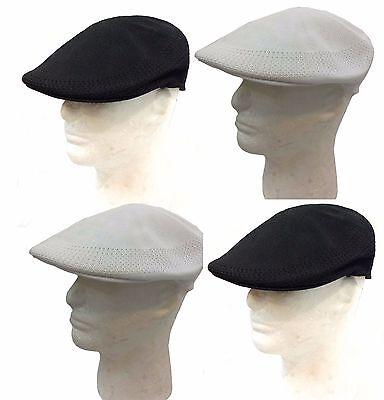 Ivy Newsboy Duckbill Cabbie Golf Driving Mesh Cap Hat-Black,White Solid - Black Cabbie Hat