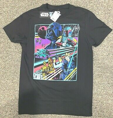 Retro Star Wars Print Graphic Return of the Jedi Characters T-Shirt Blk -NWT - Black Star Wars Characters