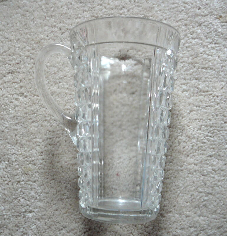 """ANTIQUE CLEAR PATTERN GLASS 6"""" TALL MEASURING PITCHER SIDE HANDLE  PANEL & JEWEL"""
