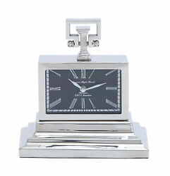 GwG Outlet Nickel Plated Table Clock with 3 Tiered Base 27851