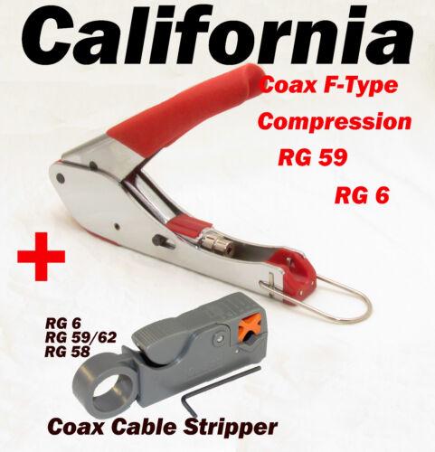 Compression Coaxial Crimp RG59 RG6 F Type Connector + Coax Cable Stripper RG58