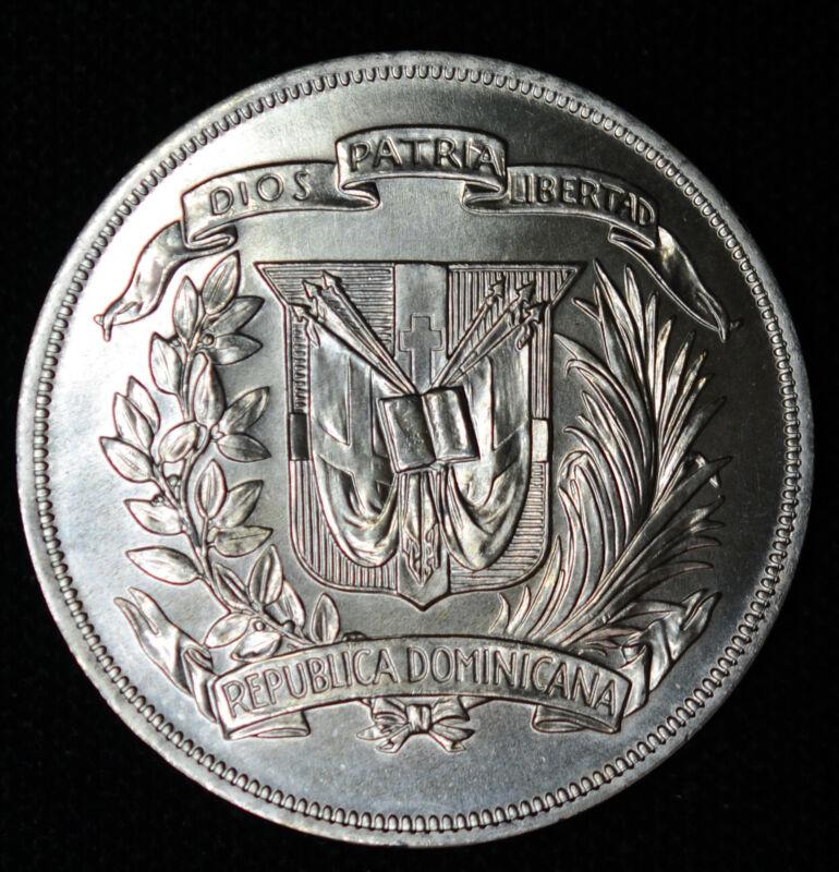 Dominican Republic 1 Peso 1974 Gem BU silver crown KM#35 superb gem