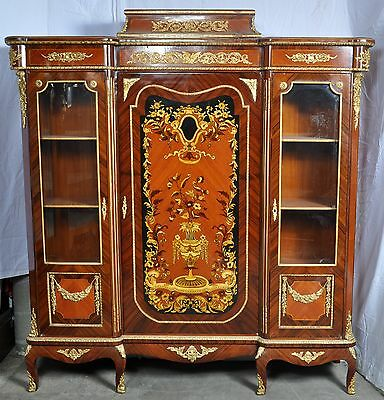 Exceptional antique style French marquetry ormolu bookcase cabinet china hutch