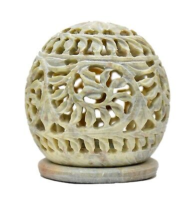 Stone Tealight Holder (3.5 Inch Stone Carving Tealight Candle Holder Round Shape Handmade Unique Decor )