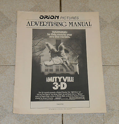 original AMITYVILLE 3-D ADVERTISING MANUAL pressbook Tony Roberts Robert Joy