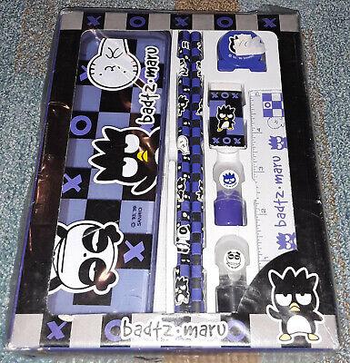 Vintage 1999 Hello Kitty Badtz Maru Pencil Case Eraser Ruler Stamp NIP