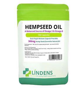 Hemp Seed Oil 300mg Capsules (100 pack) Lindens Health Food Supplement