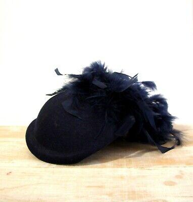 1950s Hats: Pillbox, Fascinator, Wedding, Sun Hats Navy Blue Feather Hat Felt 1950s pinup Pillbox Sculpted Fascinator Races royal $58.37 AT vintagedancer.com