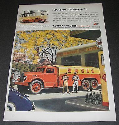 Print Ad 1945 AUTOCAR Truck ART Heavy Tankage Shell Union Oil Tanker Gas Station