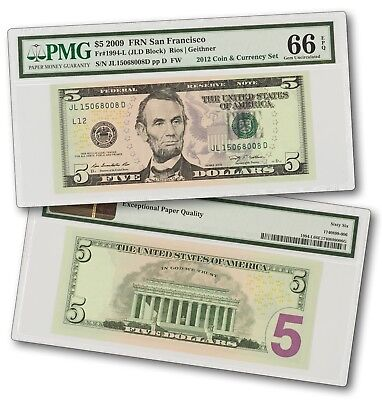 2009  5 Federal Reserve Note From 2012 Coin   Currency Set    Pmg 66 Epq