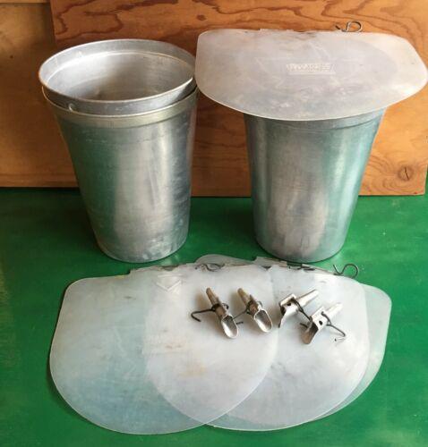 4 MAPLE SYRUP Aluminum Sap Buckets + 4 Lids COVERS + 4 TAPS Spiles Spouts