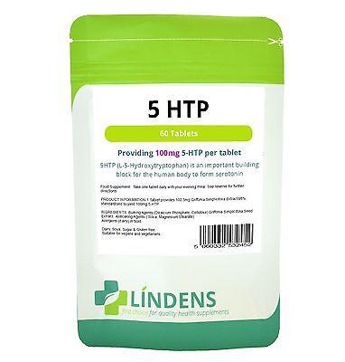 5 HTP 100mg Tablets (60 pack) Lindens Health Serotonin helps Depression Insomnia