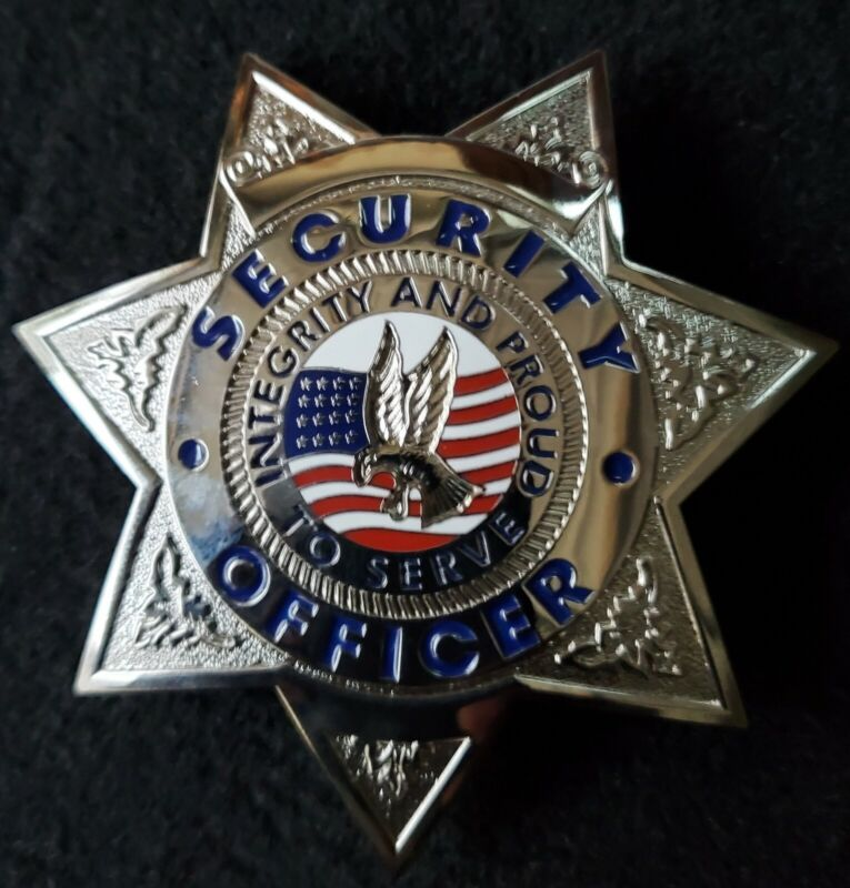 """Security Officer """"Integrity and Proud to Serve"""" Star Badge (Silver / Blue)"""