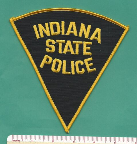 Indiana IN State Police Law Enf Trooper Triangle Shoulder Patch - Black & Yellow