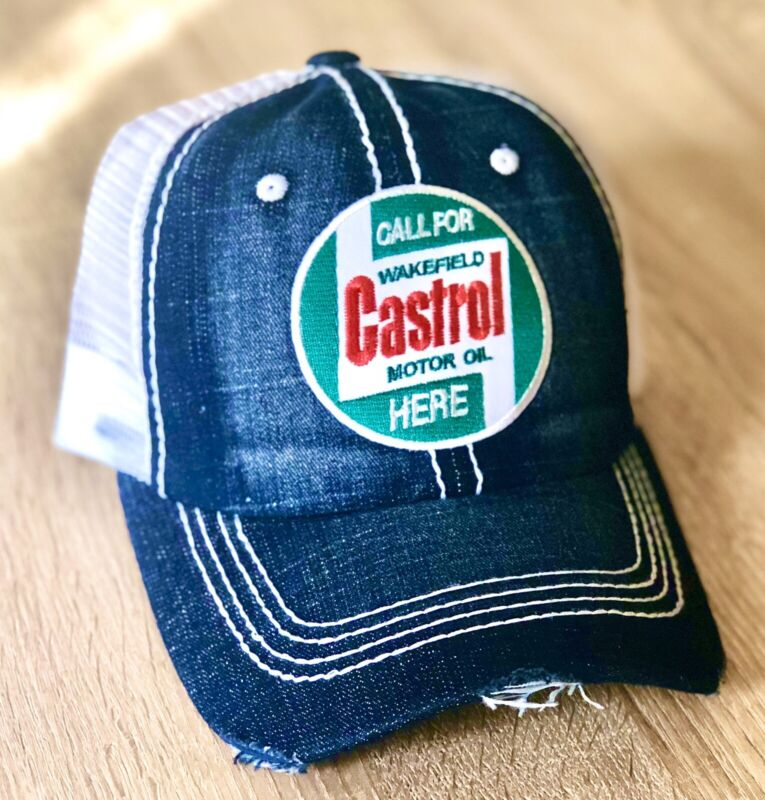 CASTROL Motor Oil Company Logo Distressed Denim Patch Hat Cap Gas Fuel Gasoline