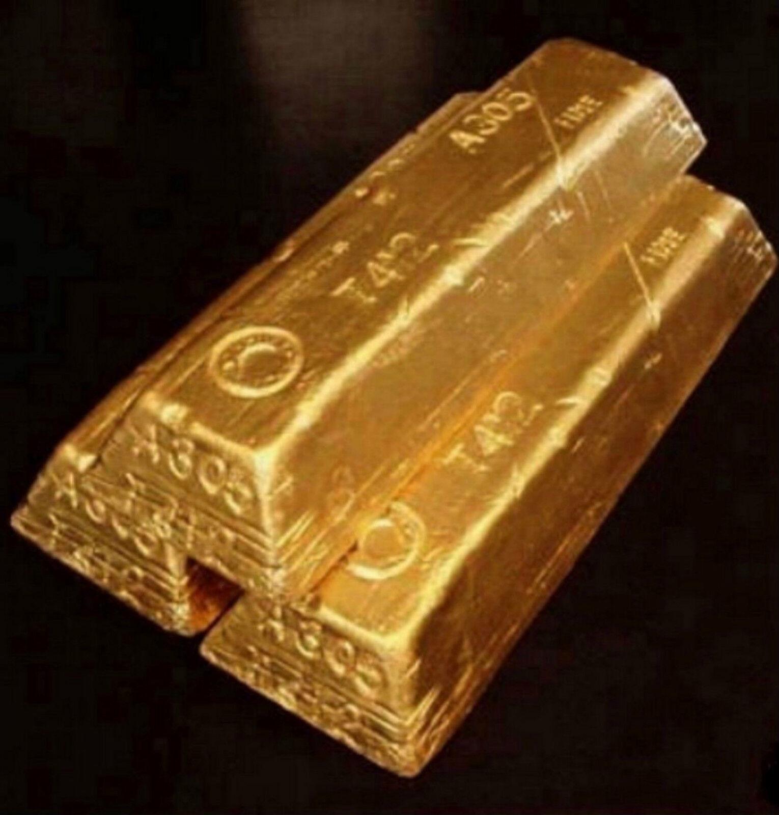 NEW 3 Gold Bar Fort Knox Brick Ingot Die Hard Movie Prop Replica Treasure  - $39.99